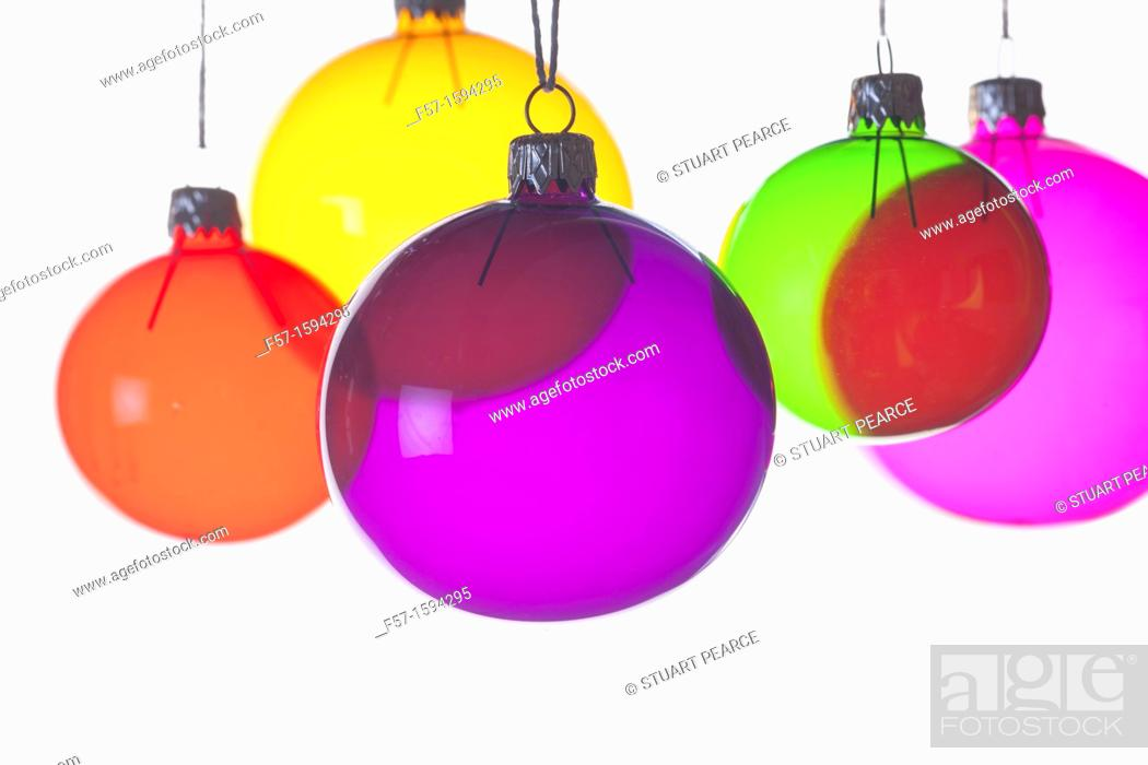 Stock Photo: Colourful Christmas baubles.