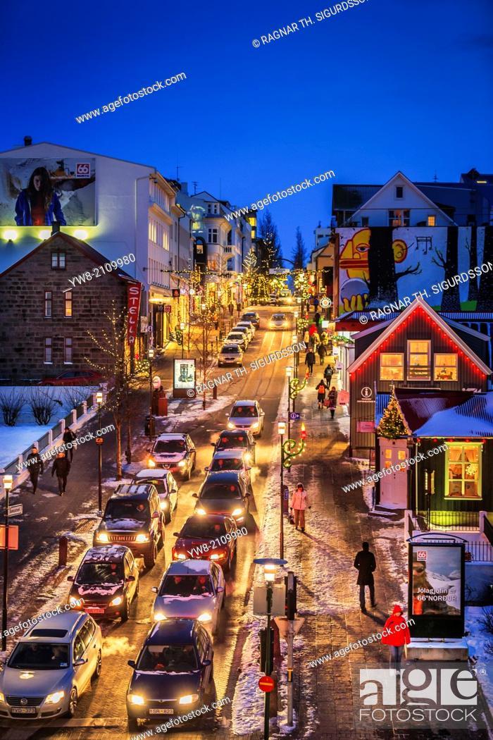 Stock Photo: Christmas time, Reykjavik, Iceland.