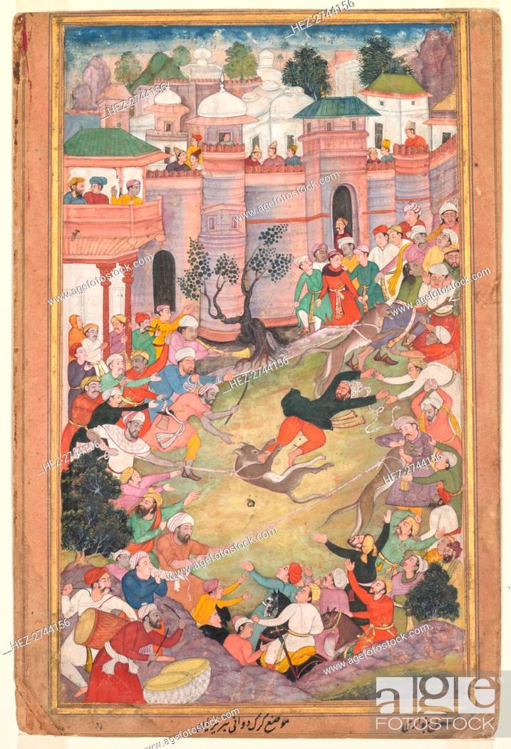Stock Photo: The game of wolf-running in Tabriz, from an Akbar-nama (Book of Akbar), c. 1595-1600. Creator: Banwari (Indian, active c. 1558-1600).