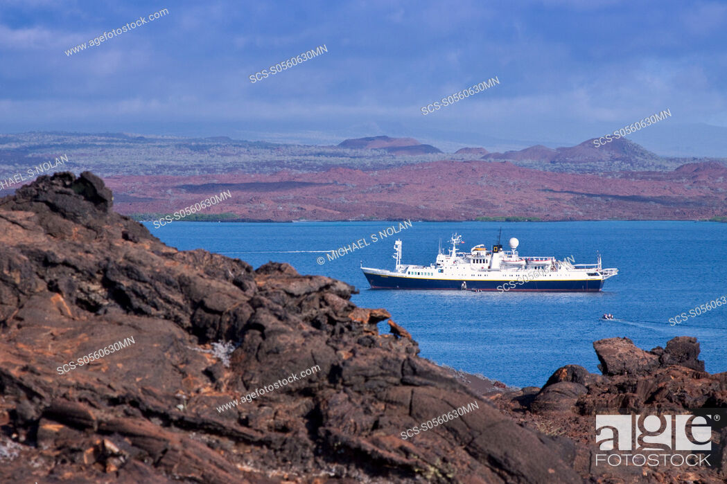 Stock Photo: The Lindblad Expedition ship National Geographic Endeavour operating in the Galapagos Islands, Ecuador, Pacific Ocean.