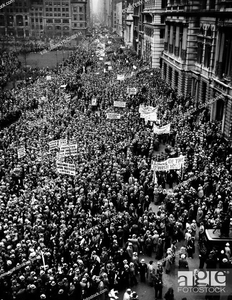 Stock Photo: New York City, Hitler protest parade, circa 1933. CSU Archives/Courtesy Everett Collection.