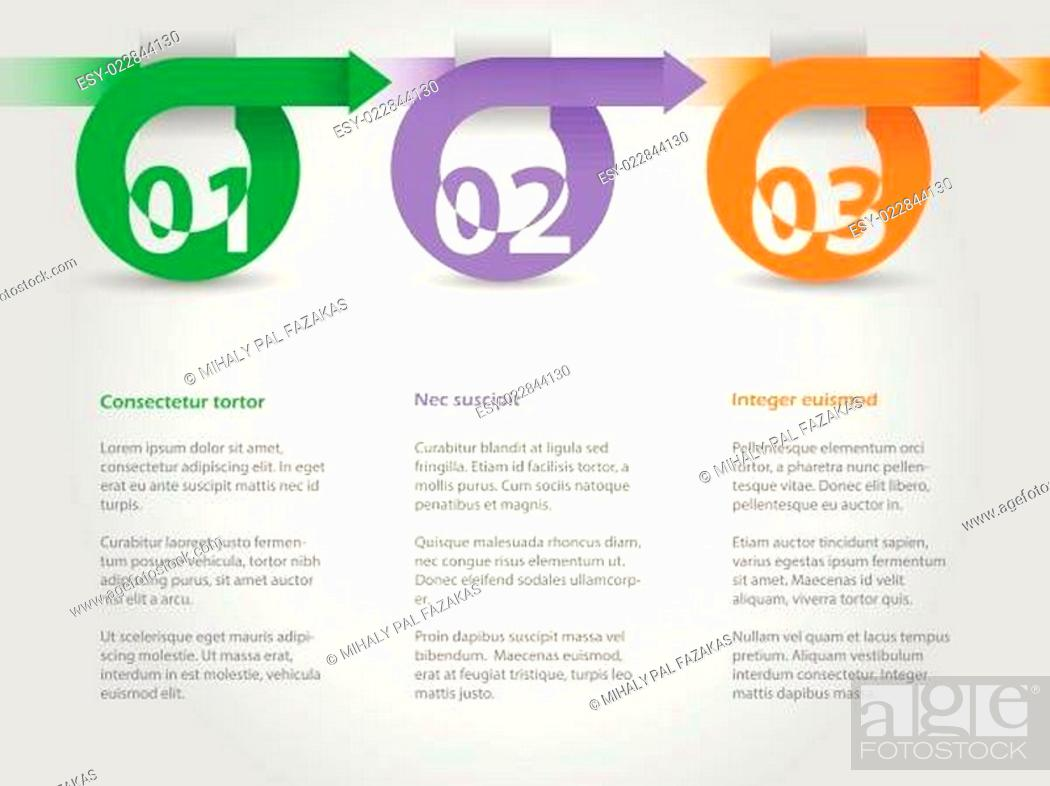 Stock Vector: Infographic design with arrows and numbers.