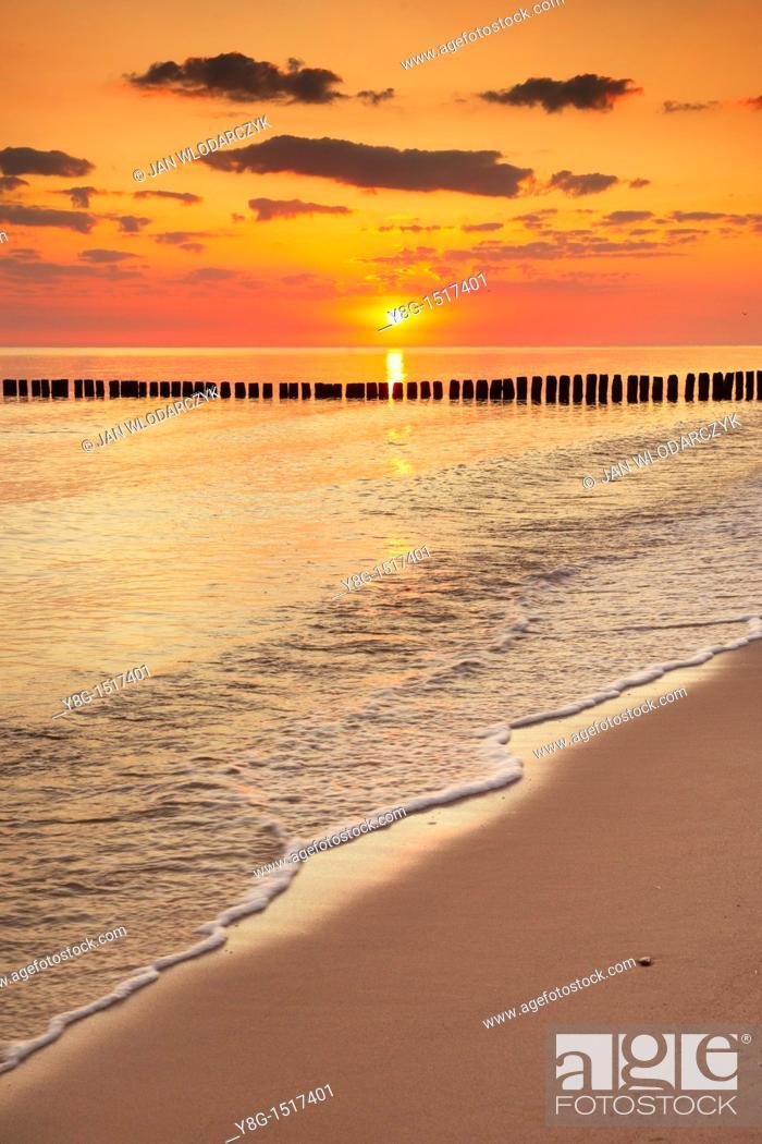 Stock Photo: Sunrise at the Baltic Sea, Pomerania, Poland, Europe.