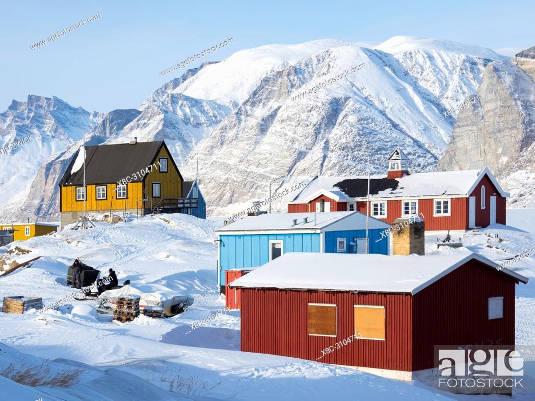Stock Photo: The fishing village Saatut during winter in the Uummannaq fjordsystem north of the polar circle. America, North America, Greenland, Denmark.