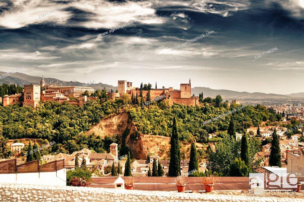Stock Photo: View of the Alhambra from the Mirador de San Nicolas  Granada  Andalucia  Spain.