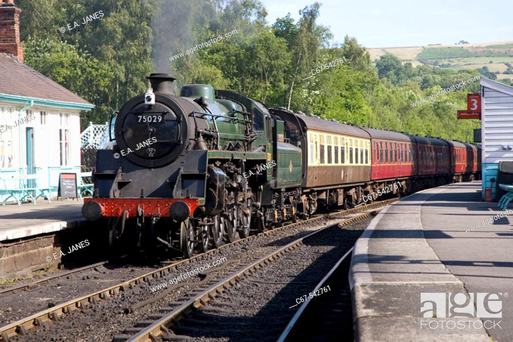 Stock Photo: Grosmont Station North East Yorkshire Steam Railway UK July.