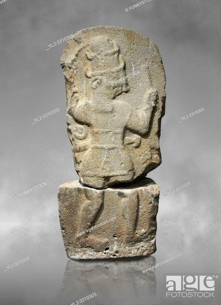 Stock Photo: Hittite monumental relief sculpture of a god probably about to kill a lion (missing) with his axe. Late Hittite Period - 900-700 BC.