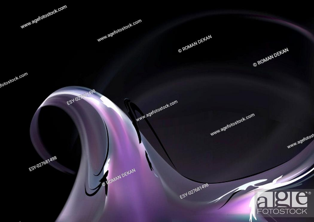 Vecteur de stock: Abstract Purple Smoke Wave on Black Background with Light Effects - Illustration, Vector.