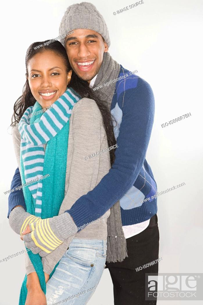 Stock Photo: Young couple wearing winter clothes.