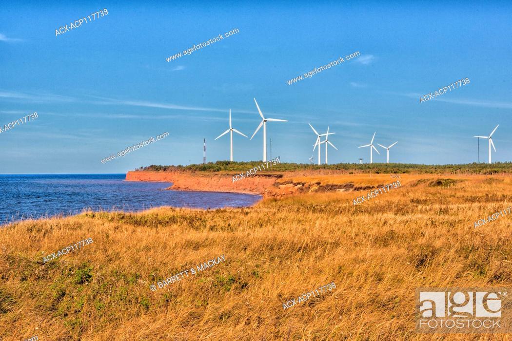 Stock Photo: Wind turbines, North Cape, Prince Edward Island, Canada,.