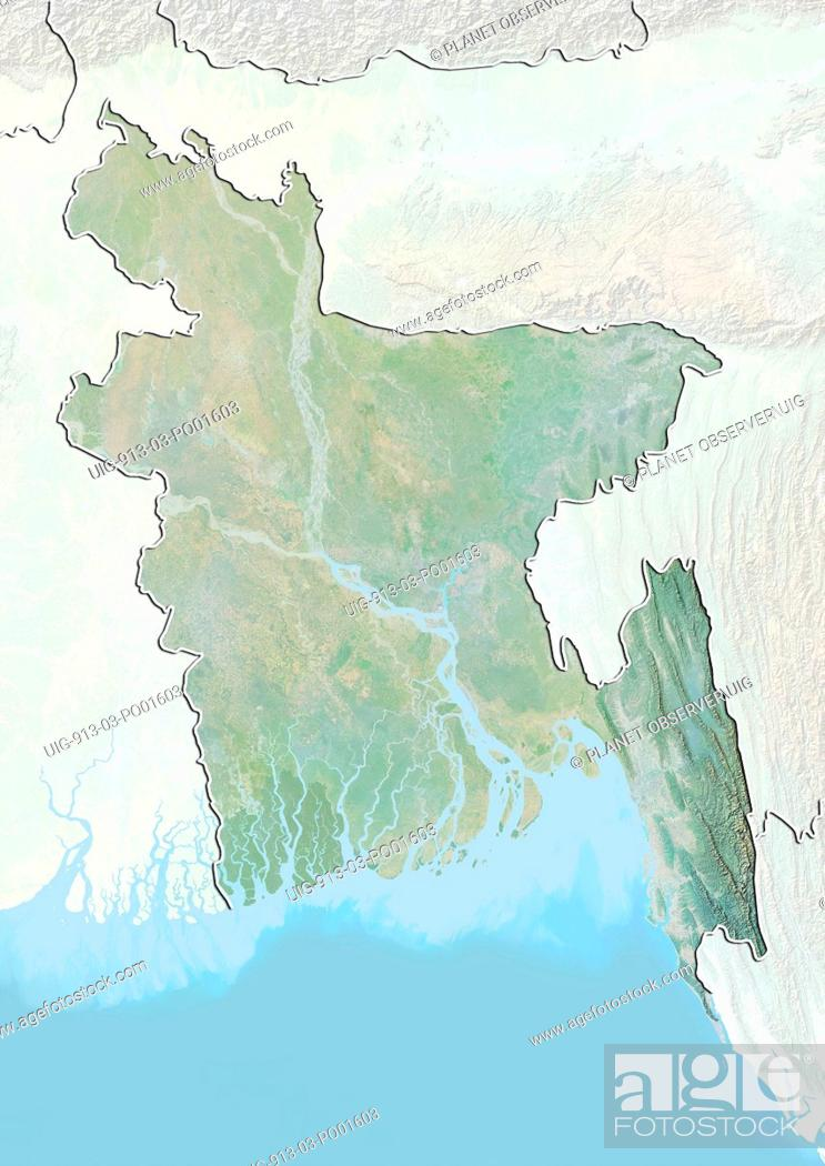 Relief Map Of Bangladesh With Border And Mask This Image Was