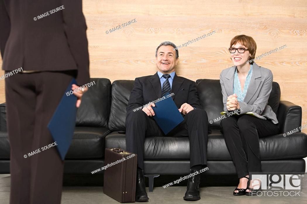 Stock Photo: Business people waiting for job interview.