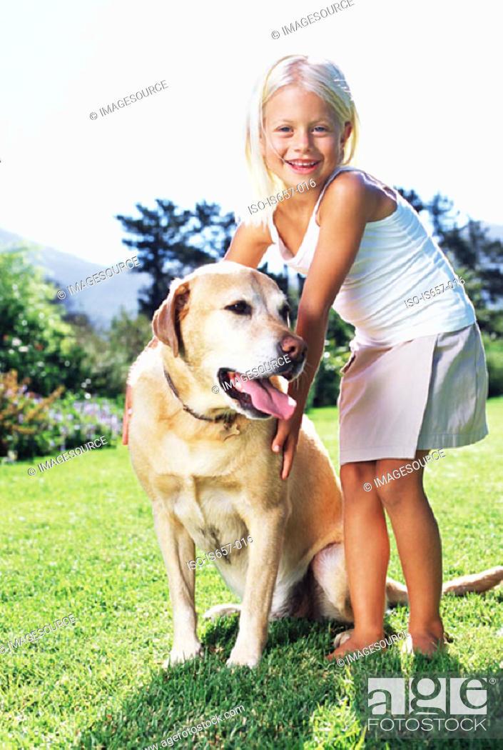 Stock Photo: Girl with labrador.