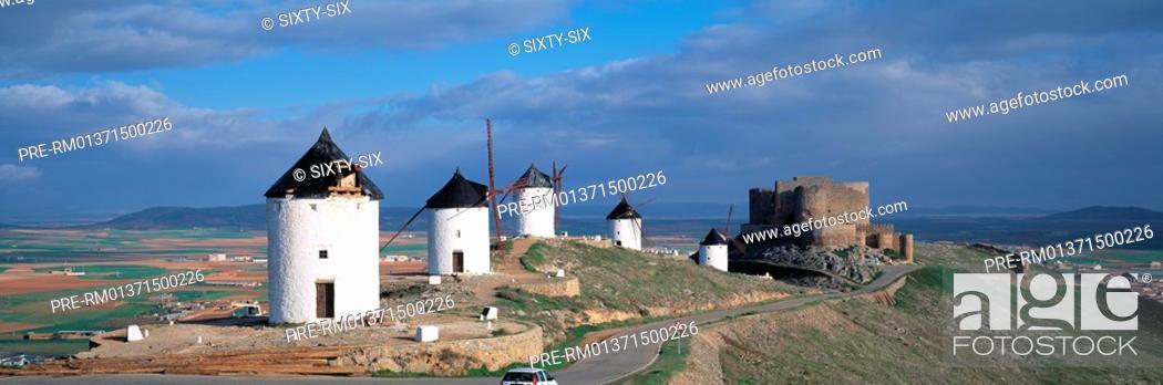 Stock Photo: Windmills, La Mancha, Consuegra, Spain.
