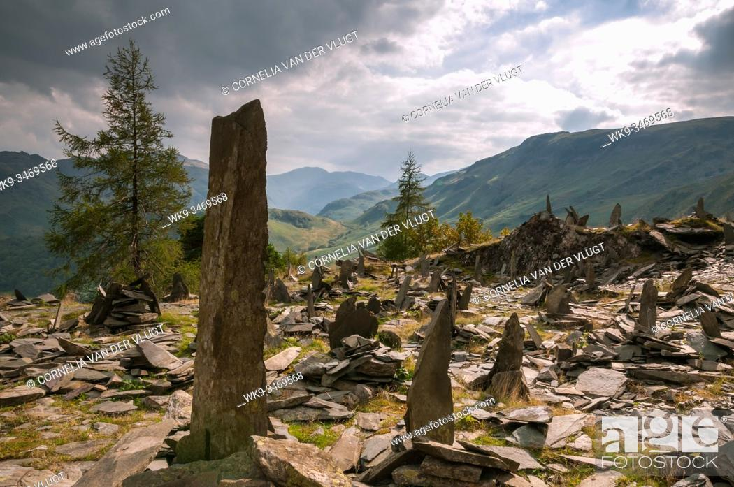 Stock Photo: The standing slate stones near the top of Castle Crag in the English Lake District. The Lakeland fells with Great End in the background.