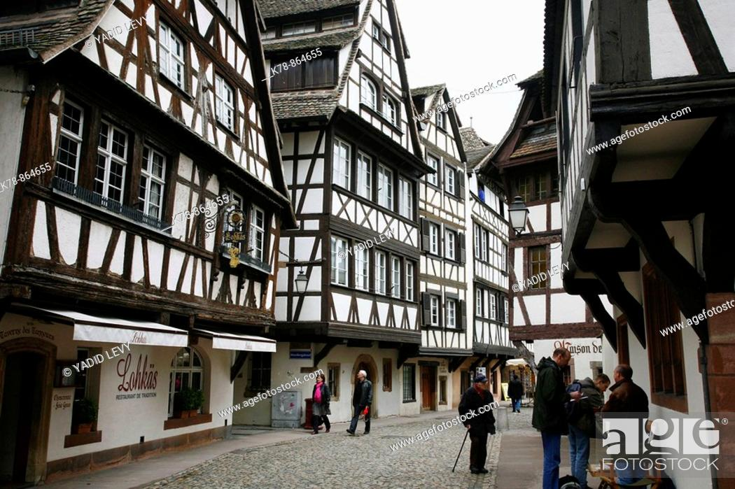 Stock Photo: Sep 2008 - Half timbered houses in Petite France, Strasbourg, Alsace, France.