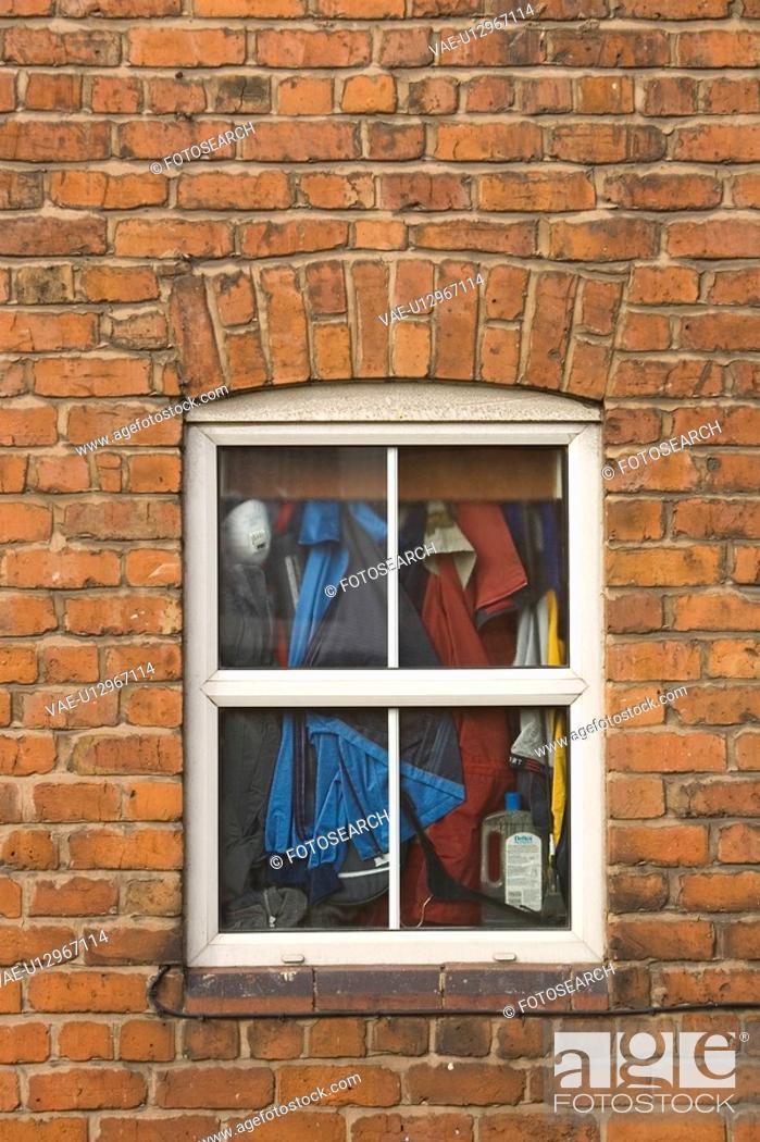 Stock Photo: Brick, Brick Wall, Close-Up, Clothes Rack, Day.