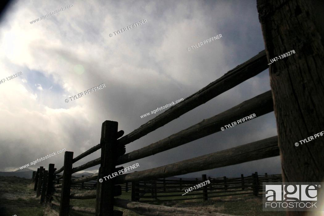 Stock Photo: picture of an old fence at old homested.