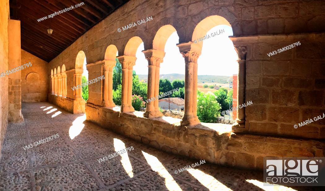 Stock Photo: Romanesque atrium, panoramic view. Asuncion de Nuestra Señora church, Pinilla de Jadraque, Guadalajara province, Castilla La Mancha, Spain.