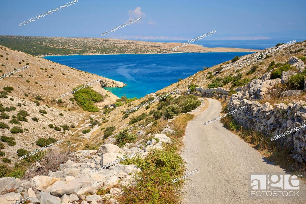 Stock Photo: landscape, road to the beach of Belej (Koroma?na), stone wall, vegetation, Cres, Croatia, Europe, Cres.