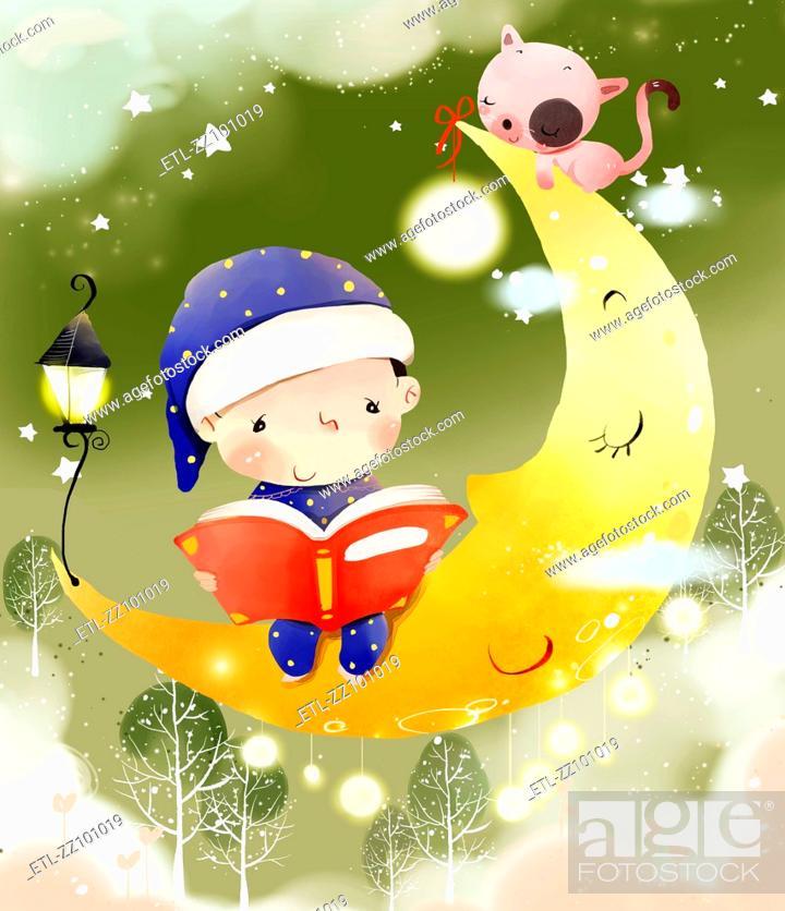 Stock Photo: Boy reading Bedtime story.