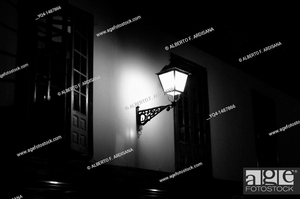 Stock Photo: Lampposts in the arcades of the Fontan, Oviedo black and white photographs, Asturias, Spain.