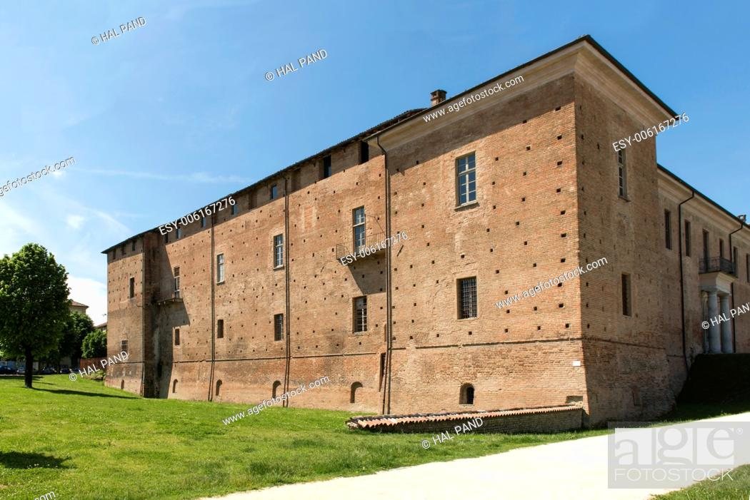Stock Photo: Visconteo Castle, east side, Voghera, Italy, view of east side of renaissance castle in a park in city center, shot in bright light.