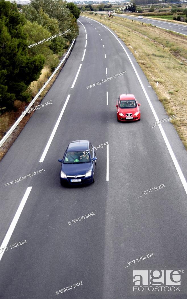 Stock Photo: AP-68 motorway Spain.