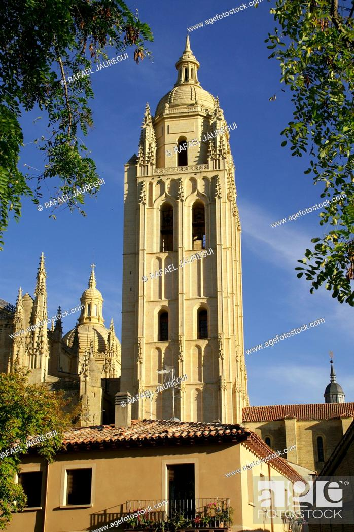 Stock Photo: Tower of the Cathedral of Segovia from the historic city  Segovia Spain.