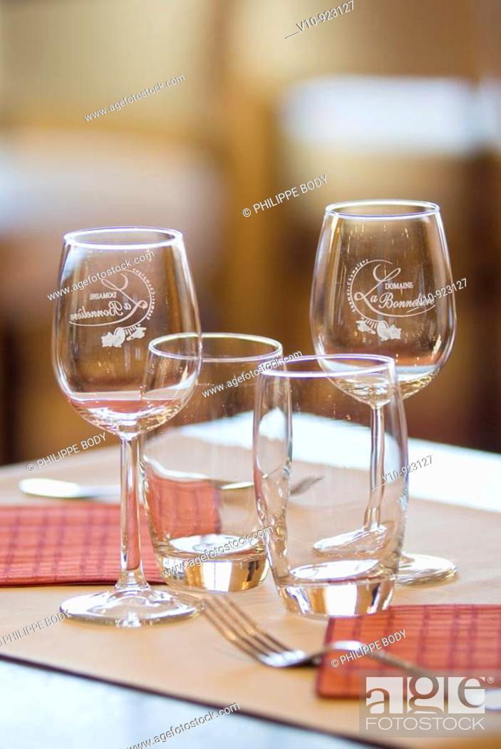 Stock Photo: France, Restaurant, dressed table, glasses.