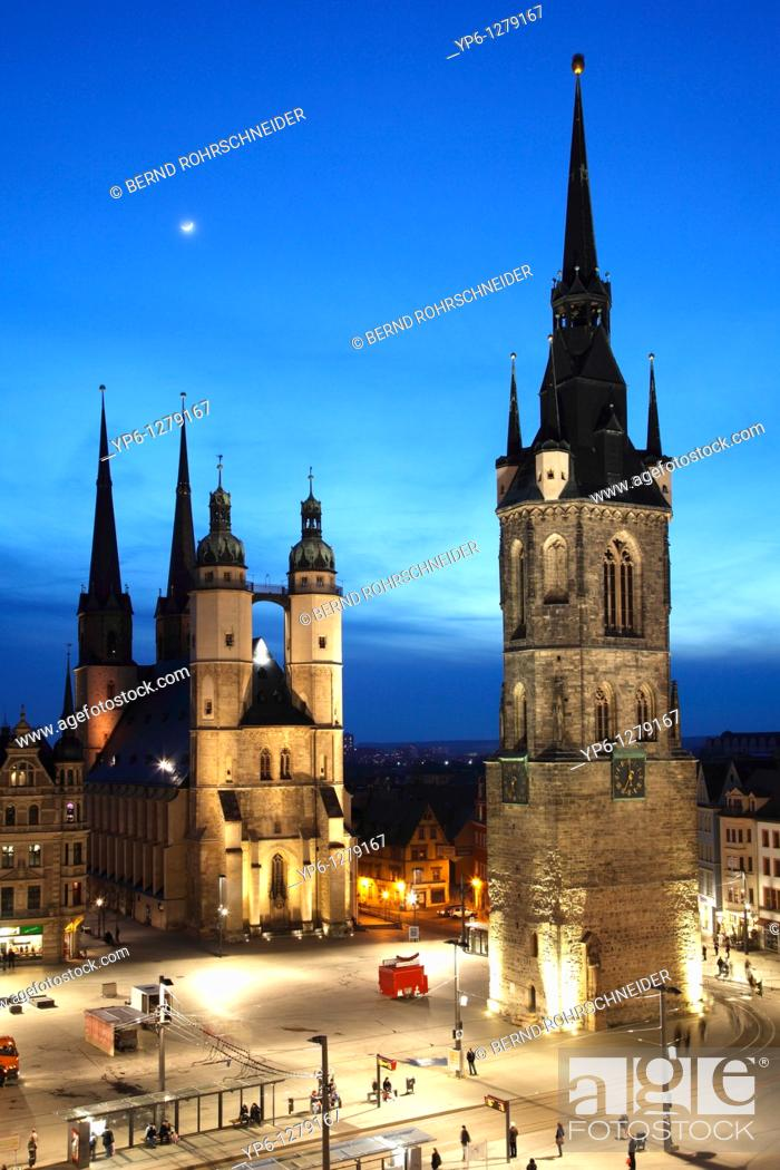 Stock Photo: market place with Marien Church and Red Tower, illuminated at night, Halle, Saxony-Anhalt, Germany.