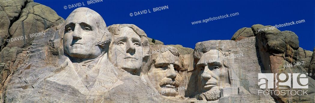 Stock Photo: Mount Rushmore Monument to Presidents Washington, Jefferson, Roosevelt and Lincoln, South Dakota, USA.