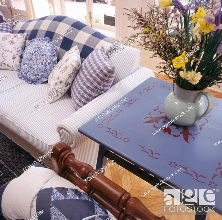 Strange Painted Blue Table Beside White Sofa With Blue White Squirreltailoven Fun Painted Chair Ideas Images Squirreltailovenorg