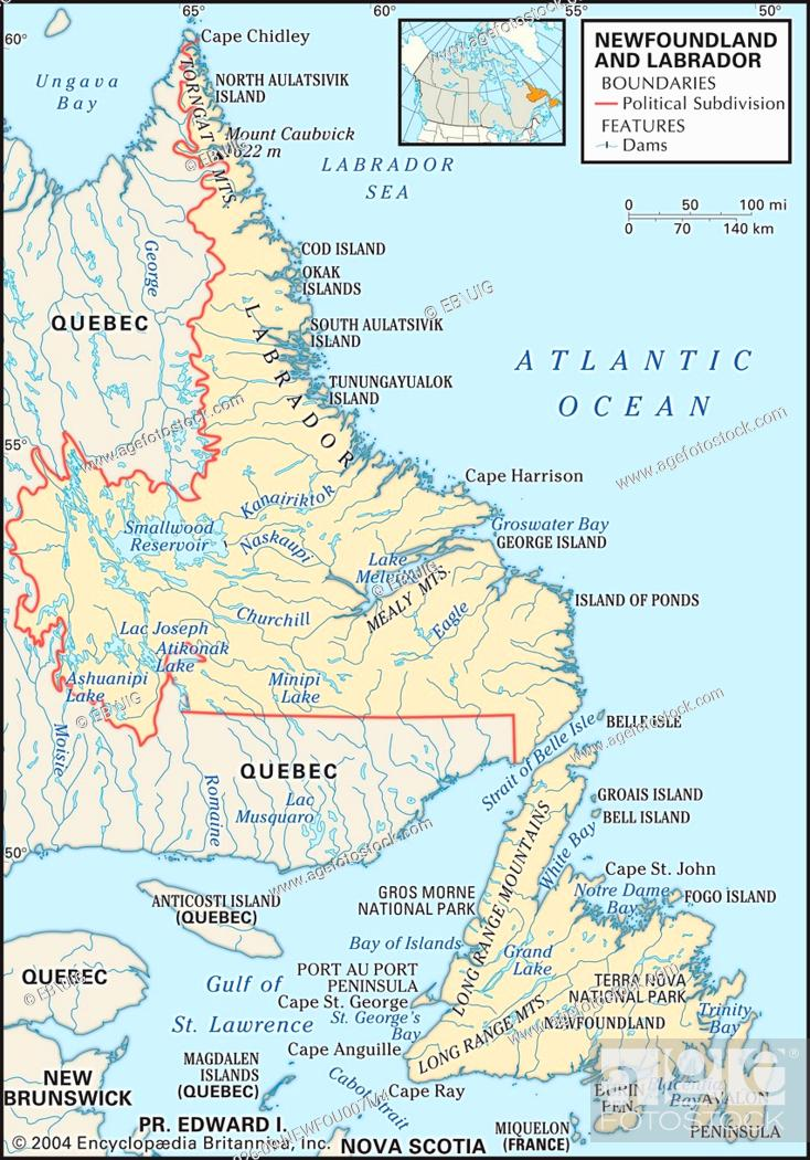 Physical map of Newfoundland and Lador, Canada, showing ... on canada continents map, canada oceans, canada topographic map, canada rivers map, canada poverty, canada china map, canada country map, canada russia map, canada entertainment, canada roads map, canada climate map, canada ferries map, canada on map, canada water map, canada animals map, canada city map, st. john's canada map, canada smoke, canada map with provinces, canada states map,