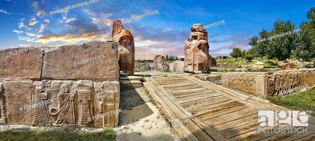 Stock Photo: Sphinx gate Hittite sculpture, Alaca Hoyuk archaeological site.