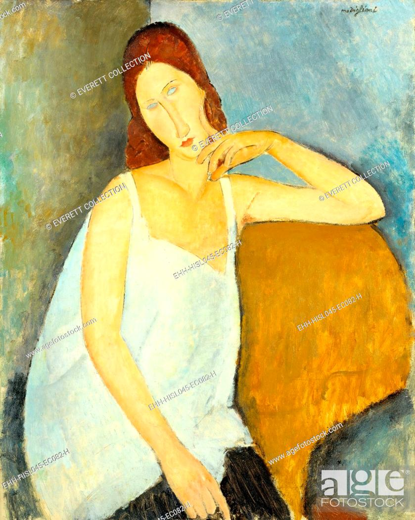Stock Photo: JEANNE HEBUTERNE, by Amedeo Modigliani, 1919, Italian modernist painting, oil on canvas. Hebuterne, the artists 21 year old mistress.