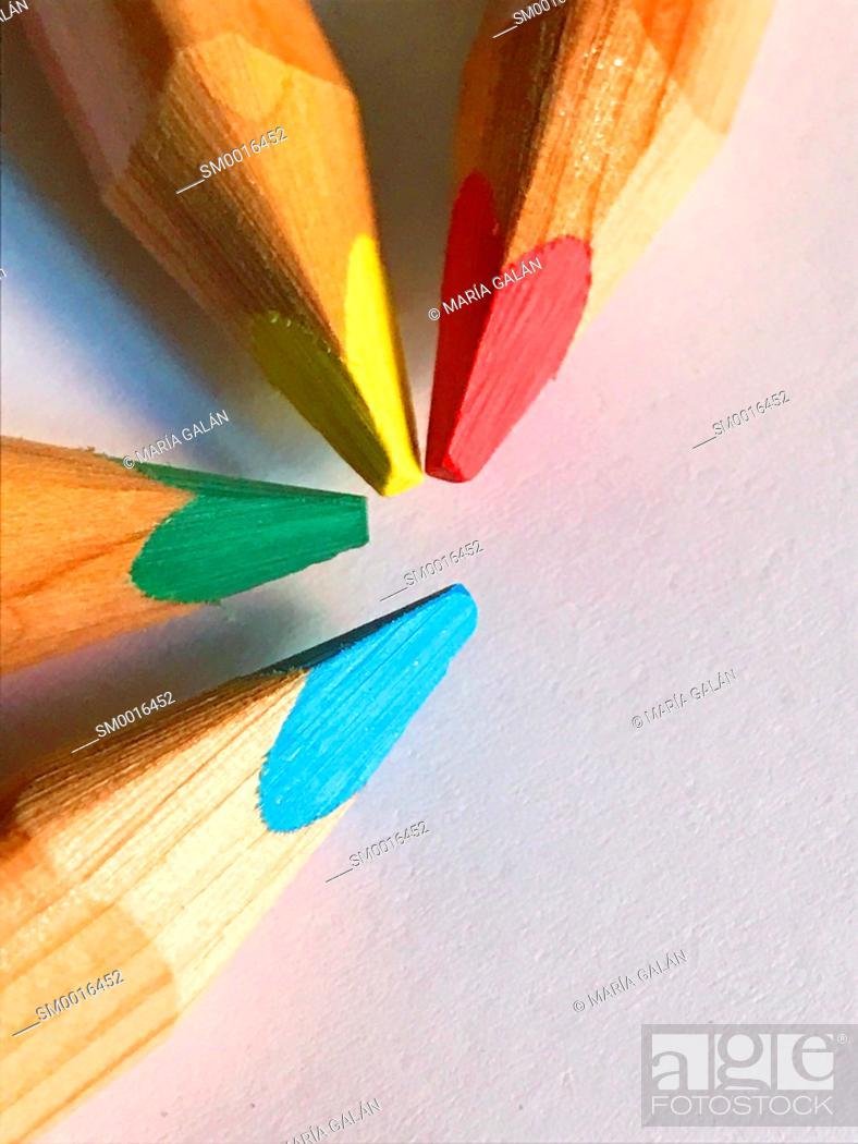 Stock Photo: Four color pencils. Close view.