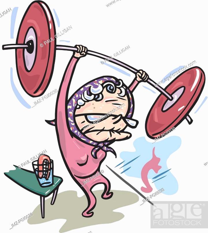Stock Photo: Grandma lifting weights.