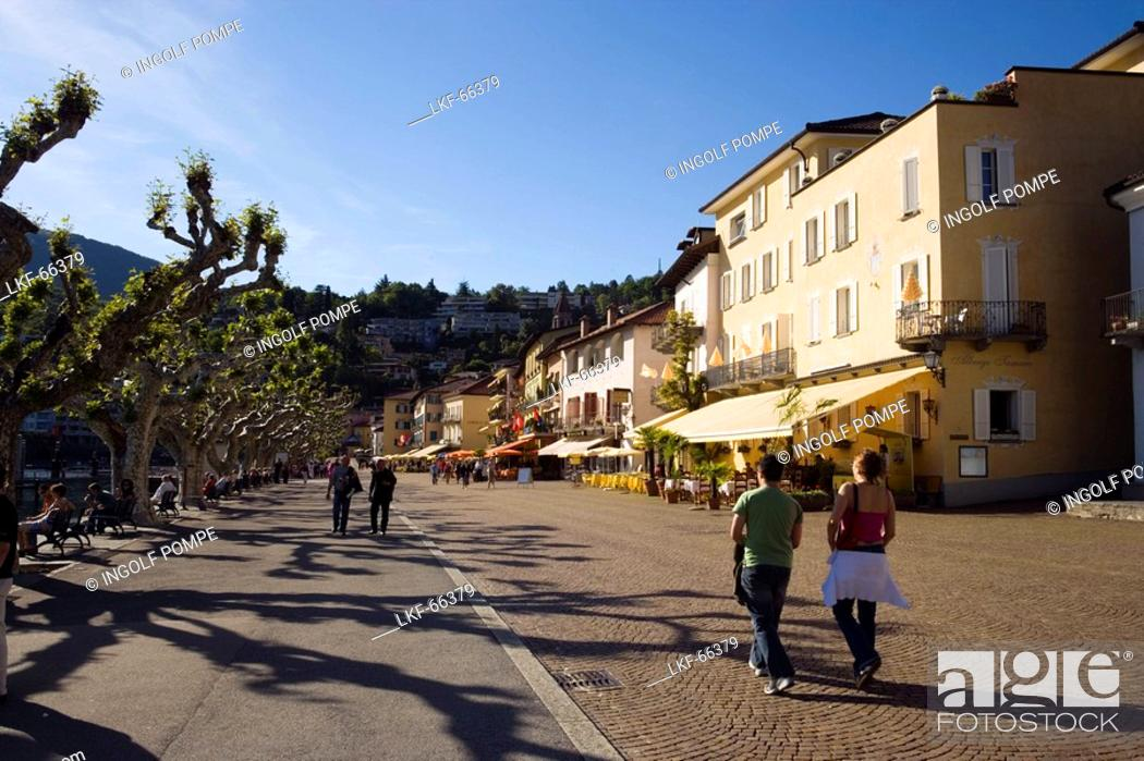 Stock Photo: View along harbour promenade with pavement cafes, Ascona, Lago Maggiore, Ticino, Switzerland.