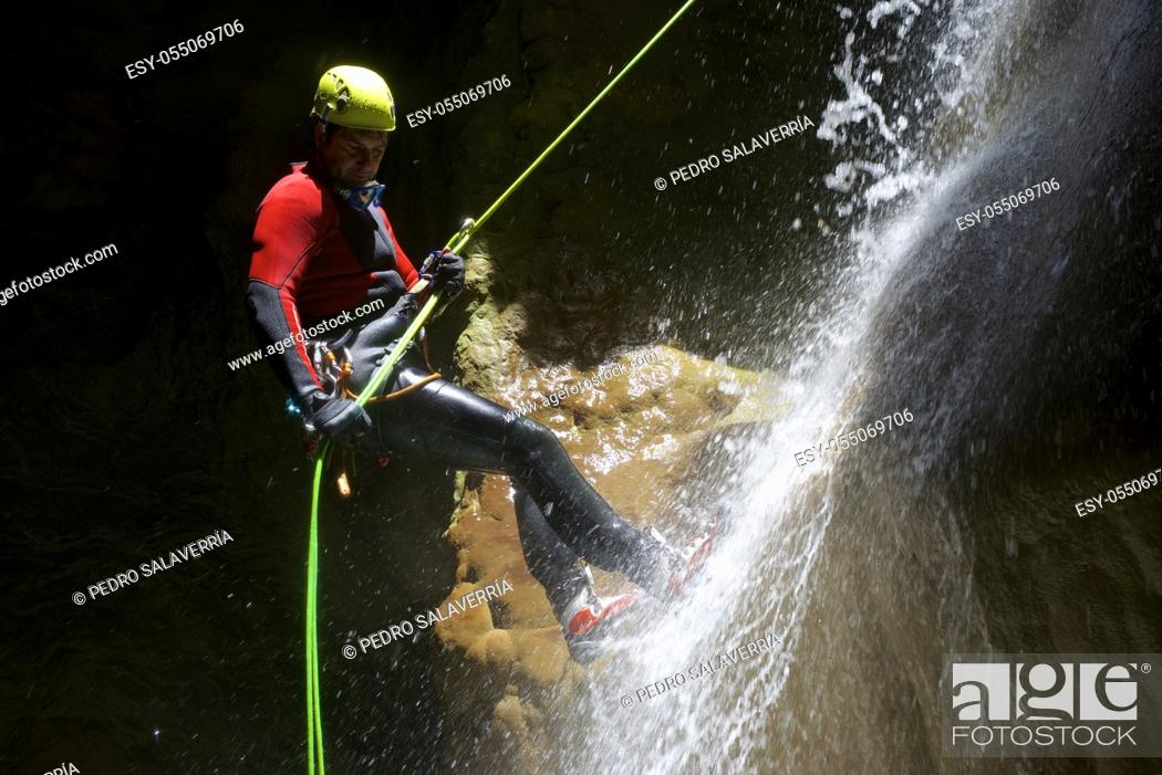 Stock Photo: Canyoning in Fago Canyon, Pyrenees, Huesca Province, Aragon in Spain.