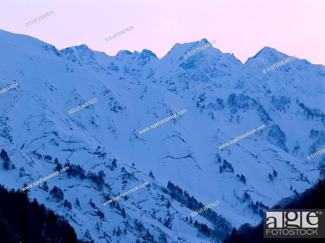 Stock Photo: Snowy Mountain Peaks.