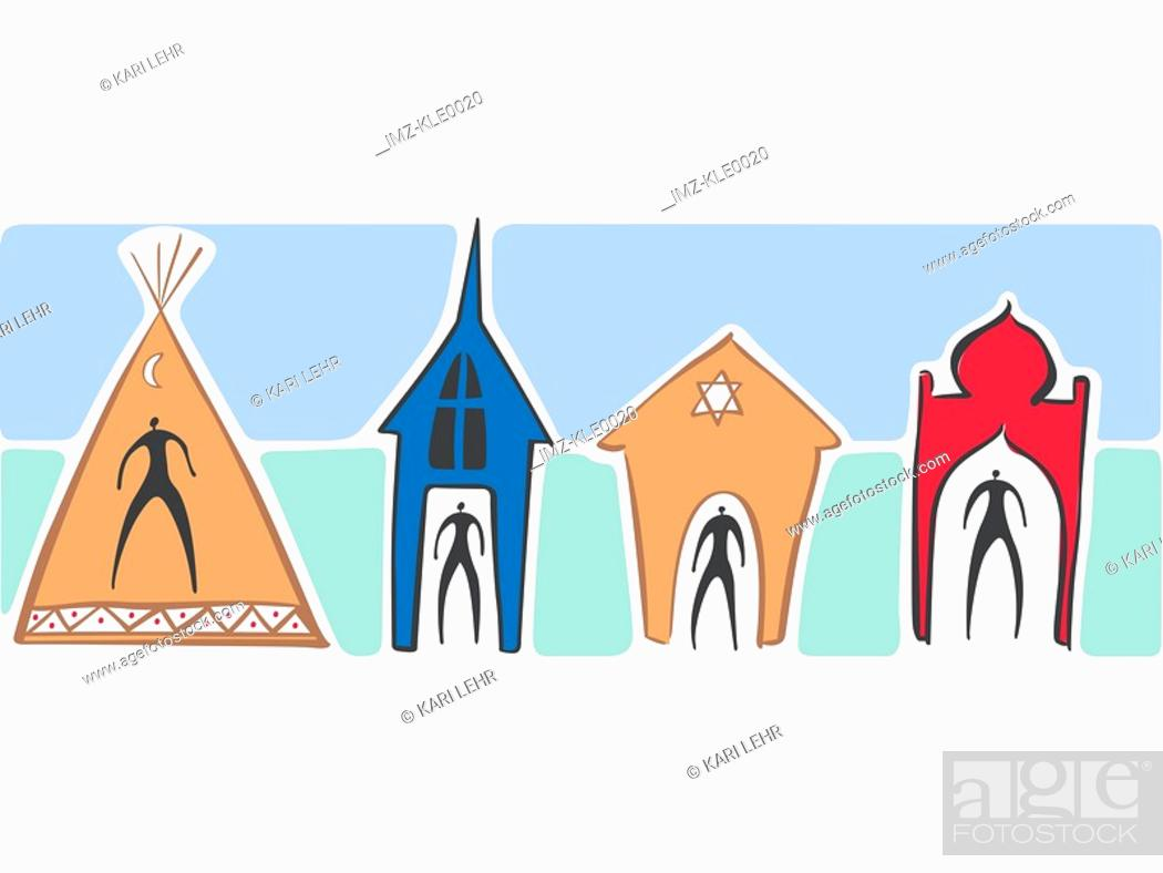 Stock Photo: People in a teepee,a church,a synagogue and a temple.