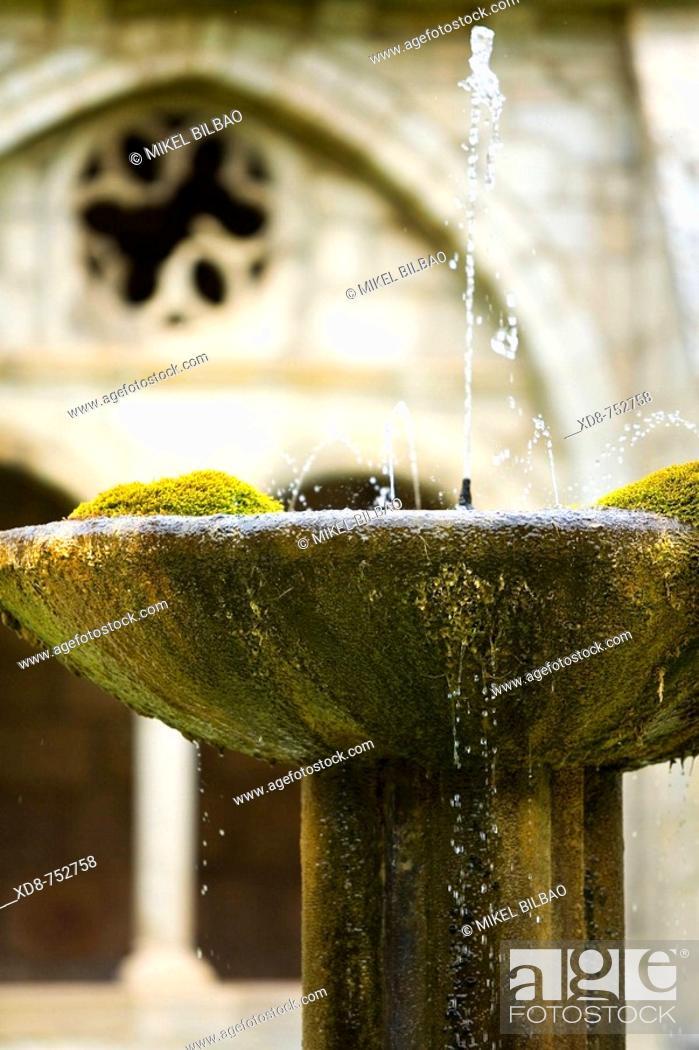 Stock Photo: Fountain in a monastery cloister, Santa Maria de Iranzu monastery, Abarzuza, Navarra, Spain, Europe.