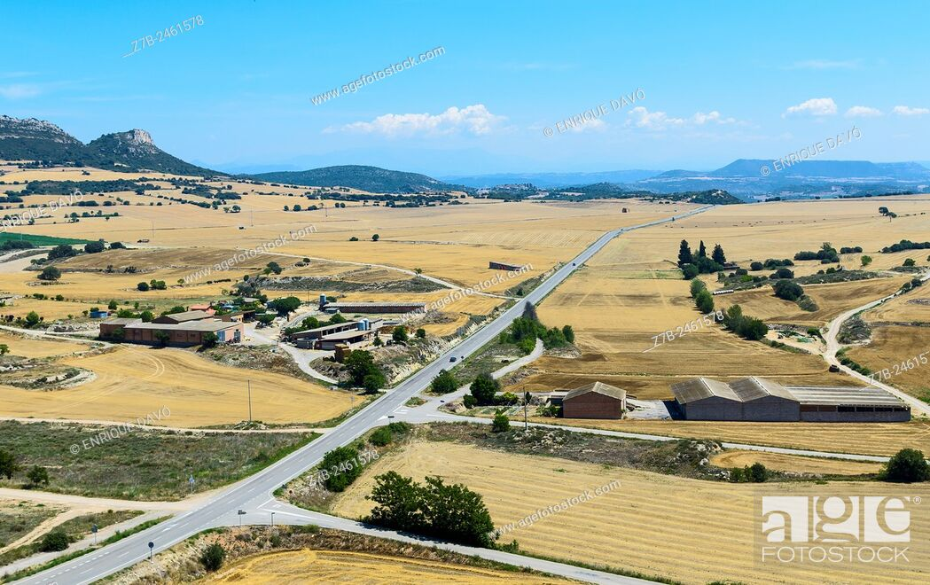 Stock Photo: A long road high view closed to Cubells town, Lerida province, Spain.