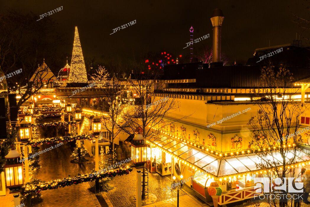 Stock Photo: The enlightened Tivoli Garden, Copenhagen, Denmark, during Nighttime and Christmas Time.
