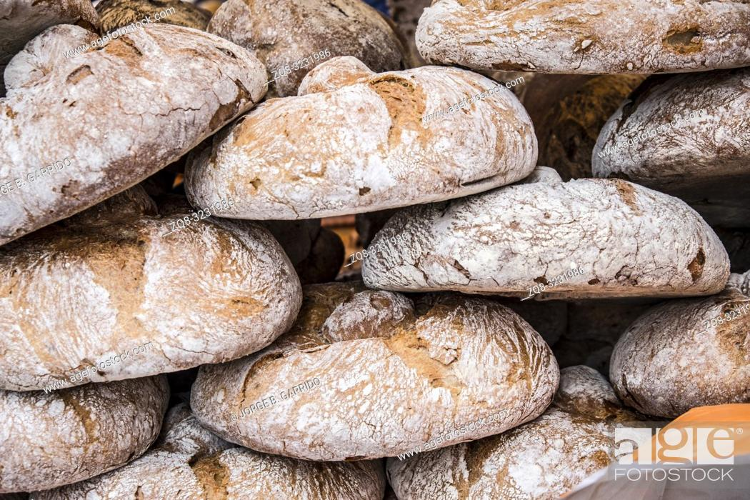 Stock Photo: Rustic bread at Candas street market, Asturias, Spain.