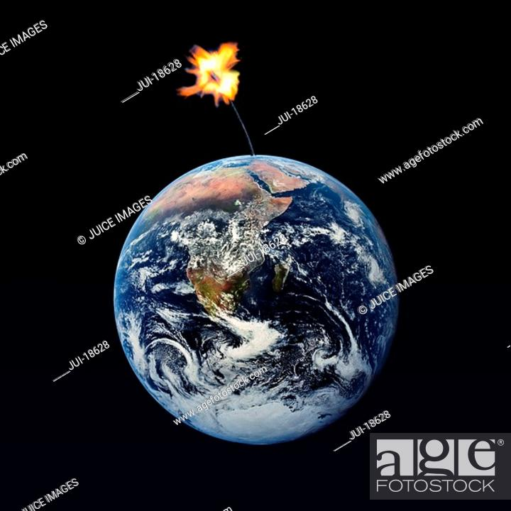 Stock Photo: Lighted dynamite fuse attached to globe.