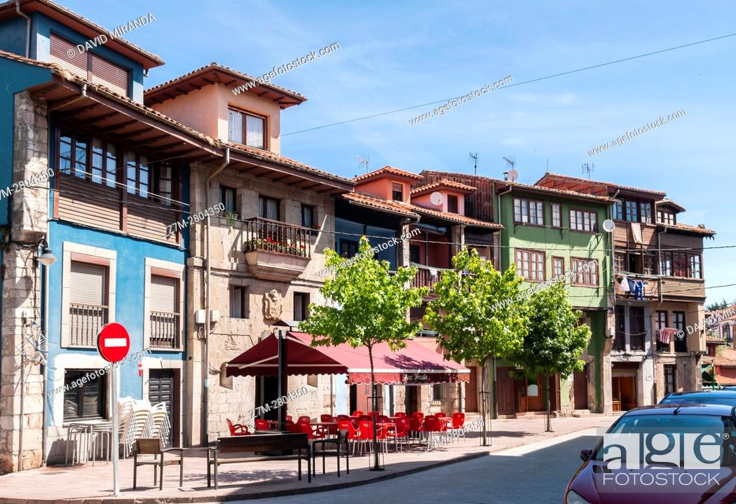 Stock Photo: Traditional architecture in Llanes village, Asturias, Spain, Historical Heritage Site.
