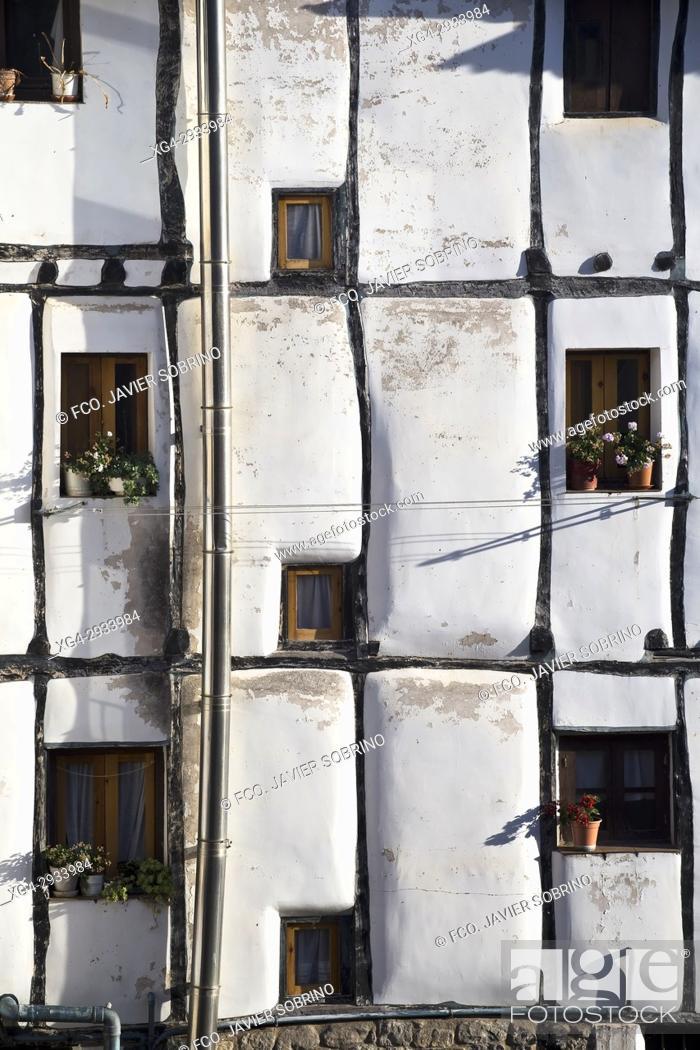 Stock Photo: Half-timbered facade. Soto de Cameros. Sierra de Cameros. La Rioja Province. Spain.