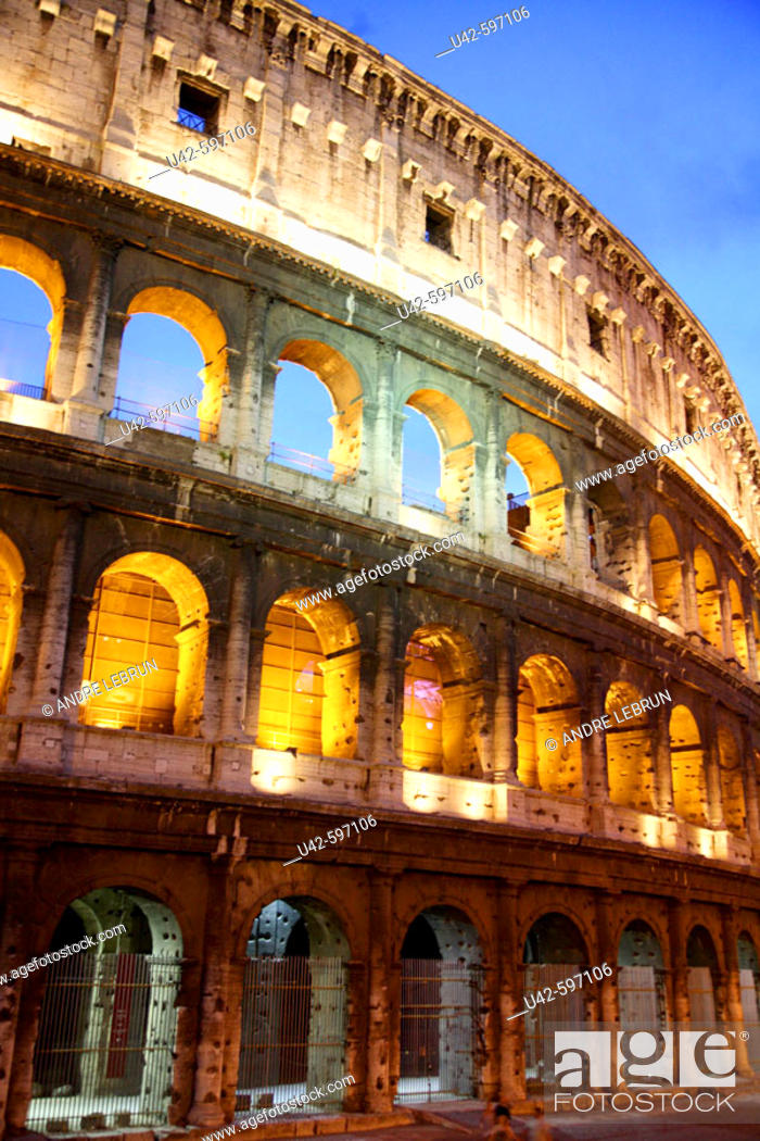 Stock Photo: A section of the Colosseum at night. 2006. Rome. Lazio. Italy.